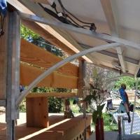 Deck rail mount on metal Post